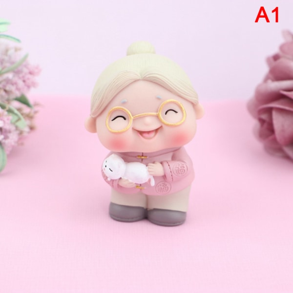 Morfar och mormor docka ornament Födelsedagstårta dekoration