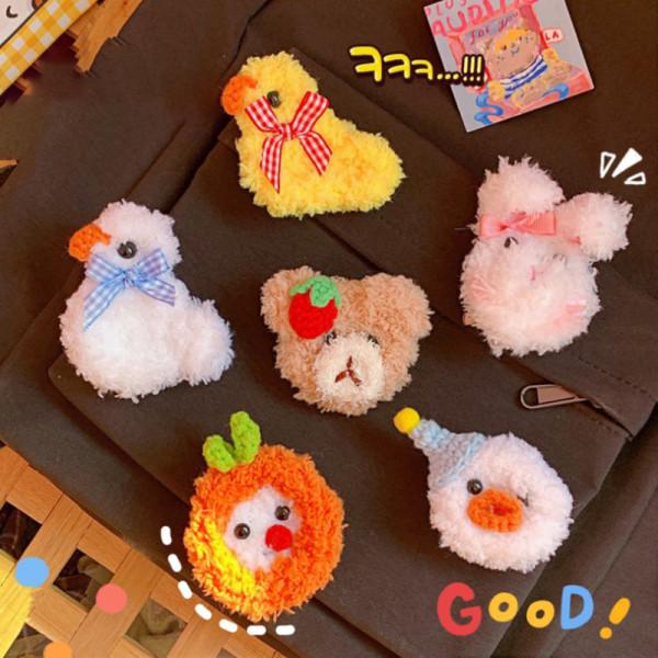 Hairpin Cartoon Brooch Cute Bear Duckbill Clip Girl Plush Carto Soft cute bunny