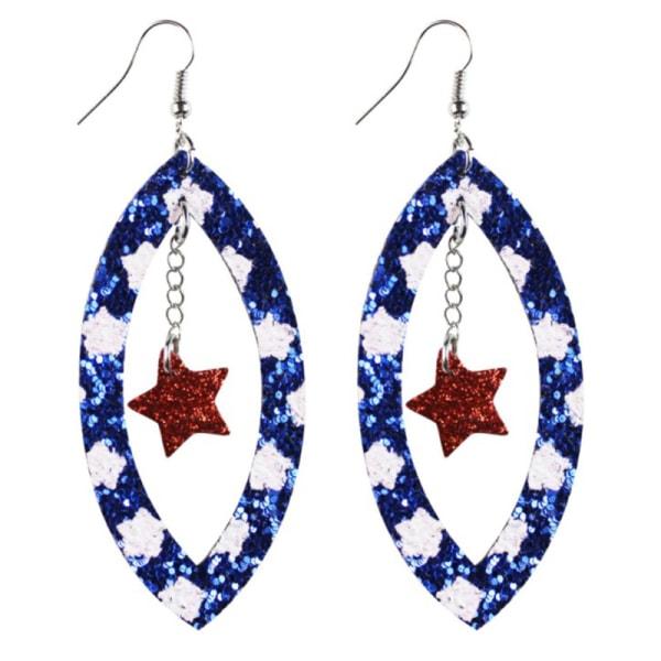 Självständighetsdagen Amerikanska flaggstjärnor PU dinglar örhängen för