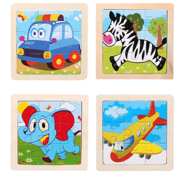 Intelligence Kids Toy Wooden 3D Puzzle Jigsaw Children Animal/T A5