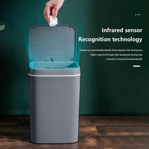 Intelligent Trash Can Automatic Sensor Dustbin Smart Sensor Ele White 14L Rechargeable
