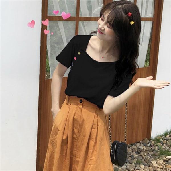 Irregular button short sleeve T-shirt black M