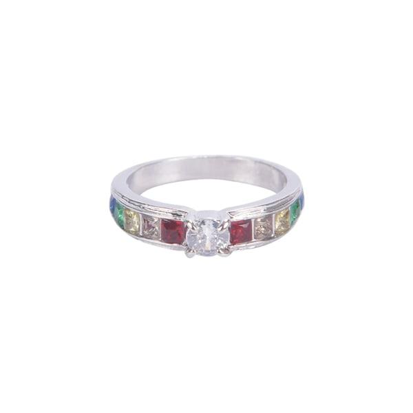 smycken regnbågsförlovningsloppsringar för kvinnor cz cubic zirc