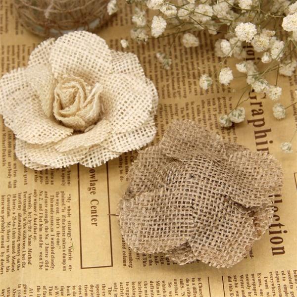 jute hessian säckväv blommor steg chic rustik bröllop dekoration