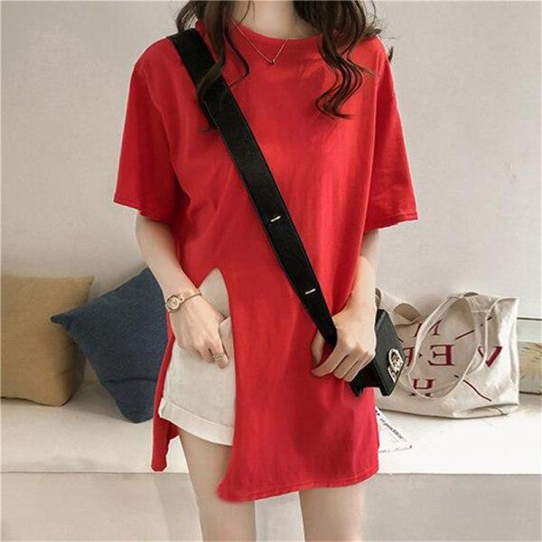 开叉宽松短袖女士T恤上衣 red L