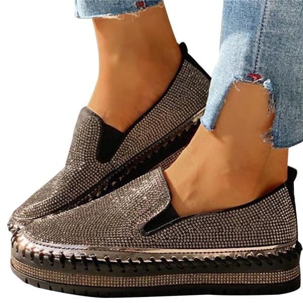 Lazy Loafer Flat Round Toe Rhinestone Shoes 2021 Mode Kvinna