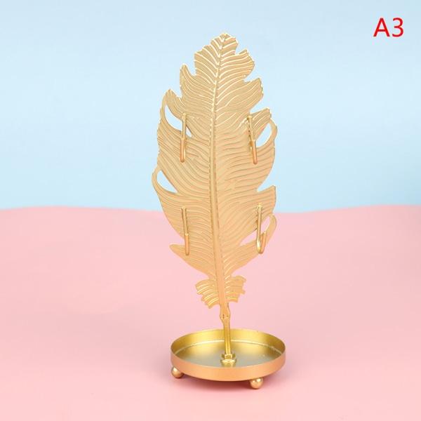 blad form järnsmycken display rack örhängen halsband armband