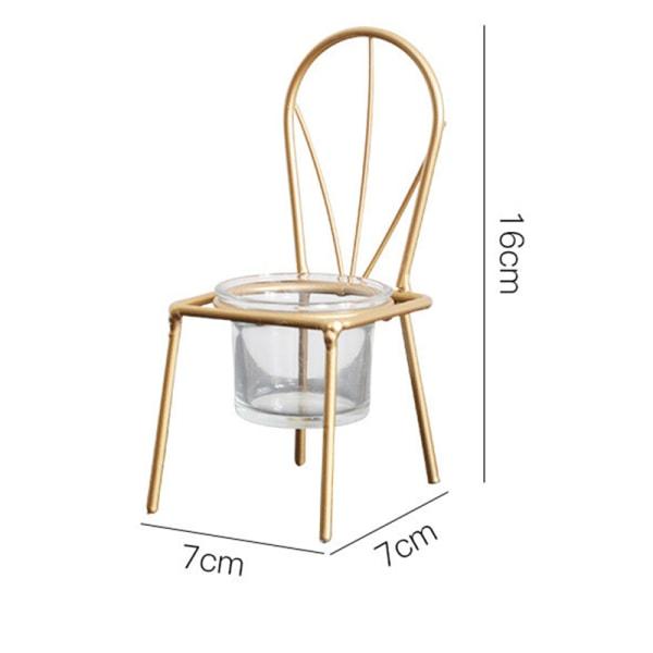 Metall Mini te ljus hållare Iron Art stol ljusstake stativ