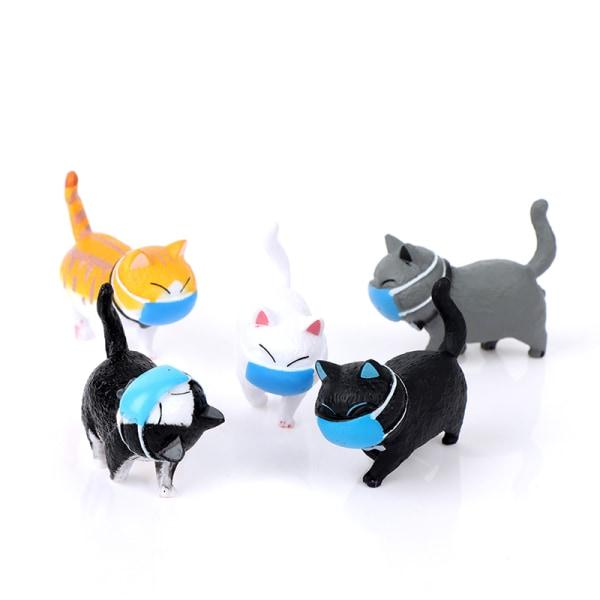 mini söt fett katt prydnad ansikte bär en mask katt rolig figur