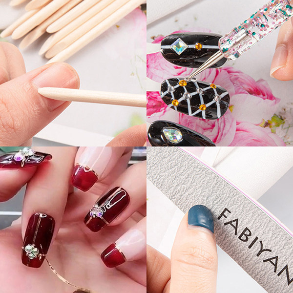 Nail Art Kit Tool Akryl Fake Nail Polishing Nail File Artificiell