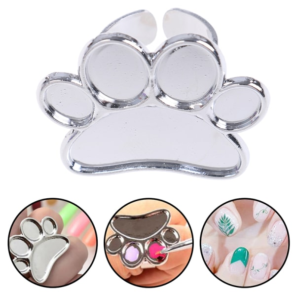 Nail Art Metal Finger Ring Palette Color Painting Pigment Holde