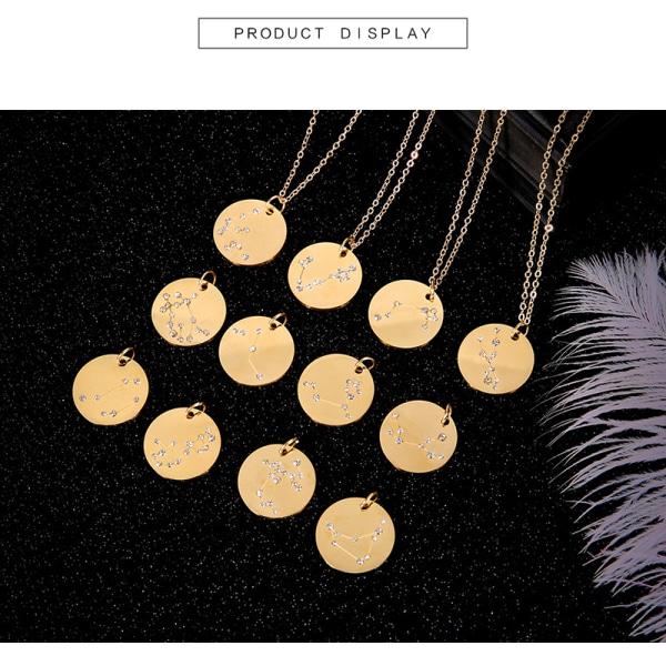 Nya 12 Constellation Charm-halsband Guldfärgad Rhinestone Choke