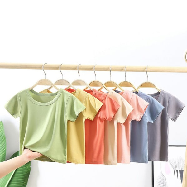 Nya 2021 Kids Plain T-Shirt Toppar Barn Baby Sommar Kortärmad