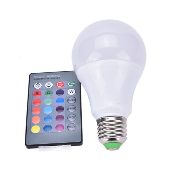 Ny E27 dimbar RGB LED-lampa Färgbyte med fjärrkontroll