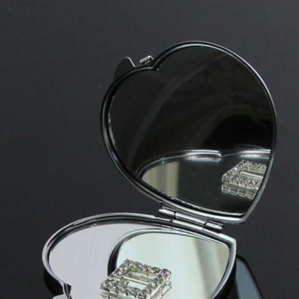 Ny hjärtformad kompakt tvåsidig sminkspegel kosmetisk pocke