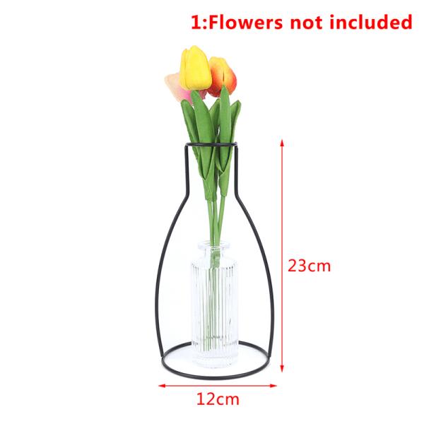 Ny stil Retro järnlinje blommor vas metallväxthållare Modern