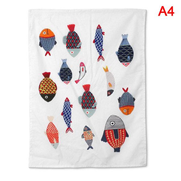 Nordic cotton linen napkin tablecloth tea napkin mat fruit anim A4