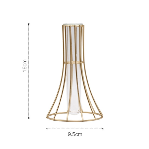 Nordic Golden Glass Vase Terrarium Geometric Iron Line Vase Hyd
