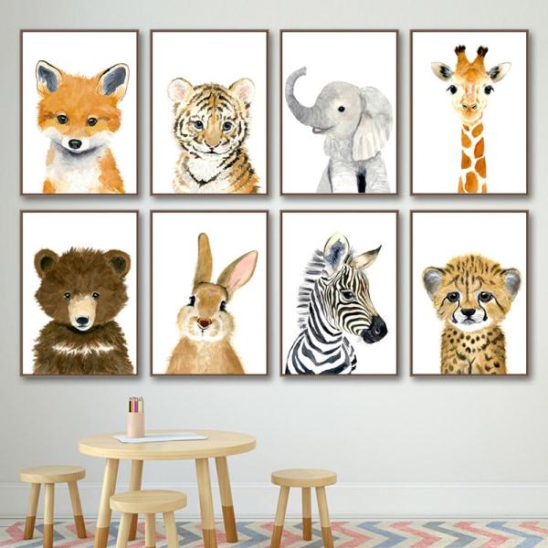 nordiska affischer och tryck bära elefant giraff djur väggkonst