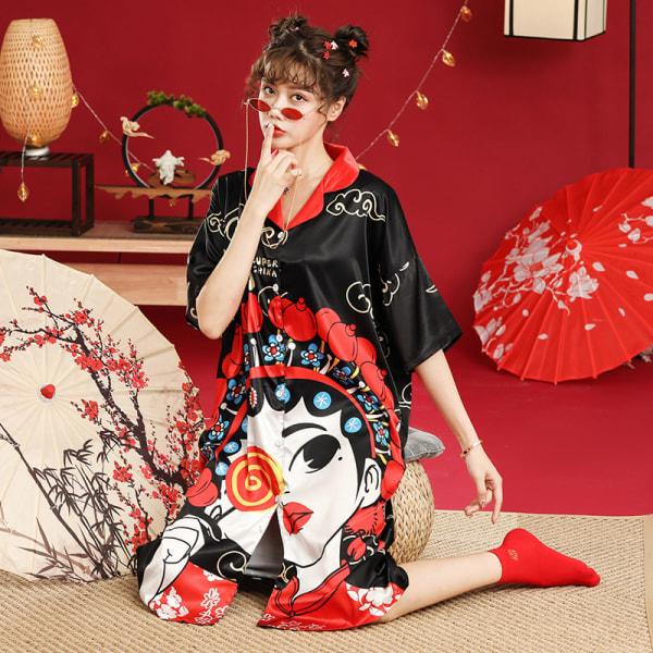 Peking opera face national tide wind ice silk pajamas yellow XL