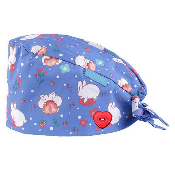 Printed Button Work Hat Casual Unisex Scrub Cap Cotton Hat Doct light puple