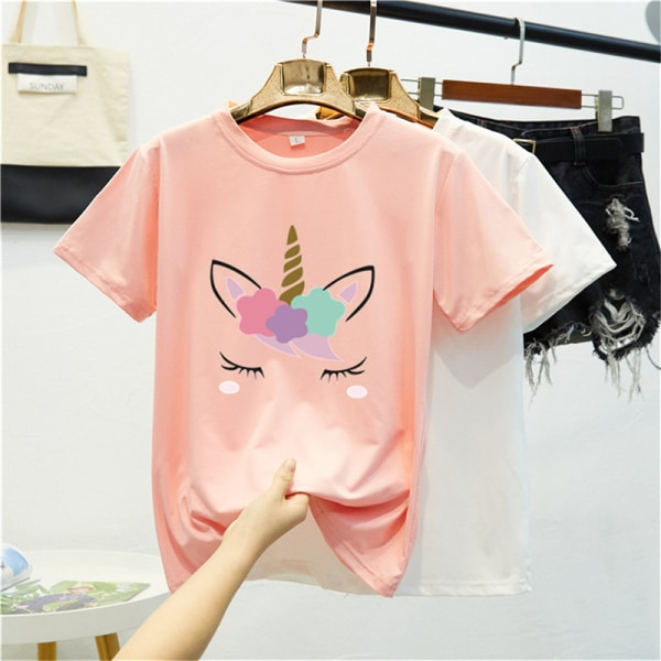 Pure color cartoon print short-sleeved t-shirt women''s top yellow 2XL
