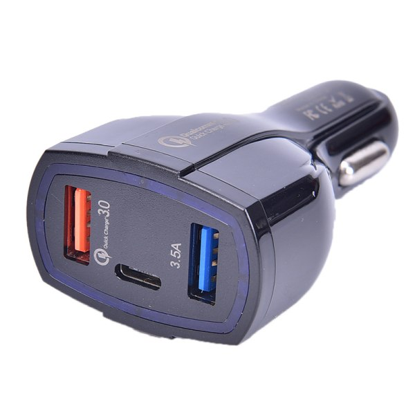 QC3.0 Quick Charge Adapter 2 USB Port +Type-C Fast Car Charger  Black
