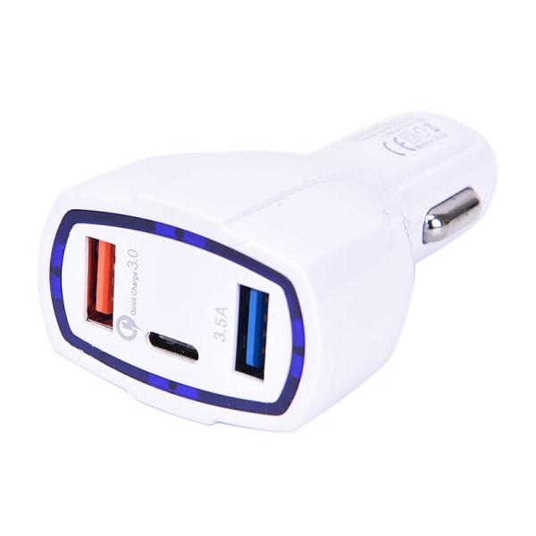 QC3.0 Quick Charge Adapter 2 USB-port + Type-C snabb billaddare
