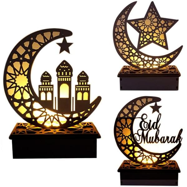 Ramadan dekoration Moon Star Led strängljus EID trä Pendan