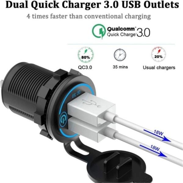 snabb laddning 3.0 dubbla USB-portar billaddare med voltmeter och swi Red P3