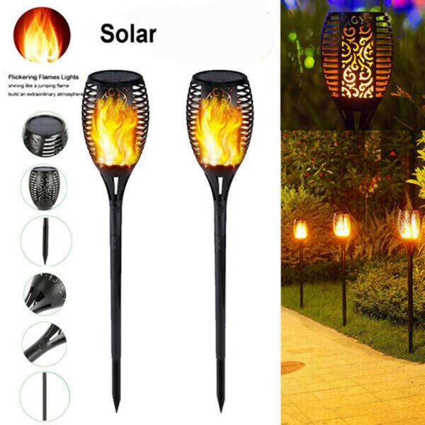 Solar Flame Torch Light LED Outdoor Lamp Garden Decor Landscape