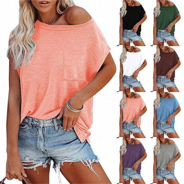 Solid color strapless pocket short sleeve T-shirt pink XL
