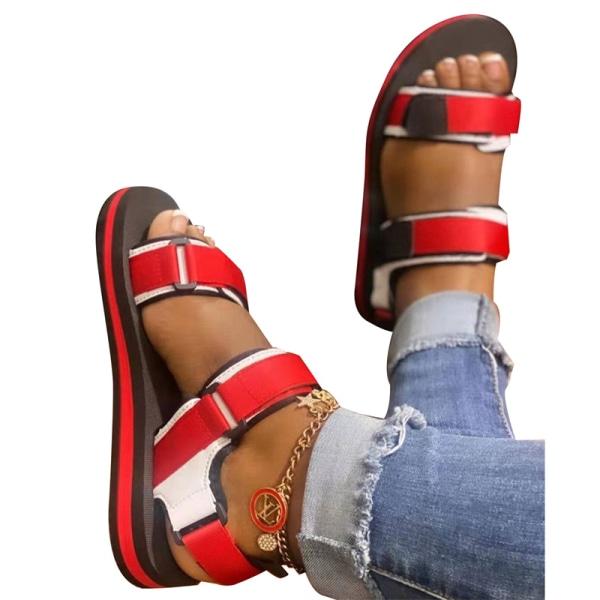 sommar dam sandaler kardborre skor öppna tå enkla utomhus leis Rose red 42