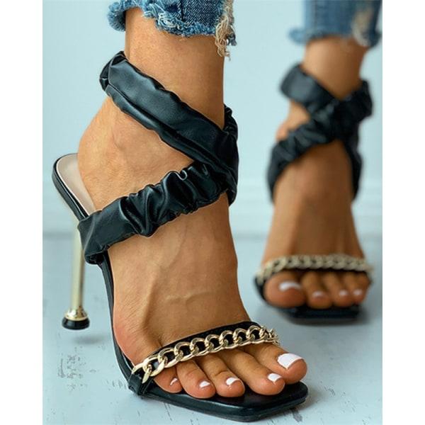 sommar plisserade dam sandaler metall högklackade sandaler öppen tå s Beige 38