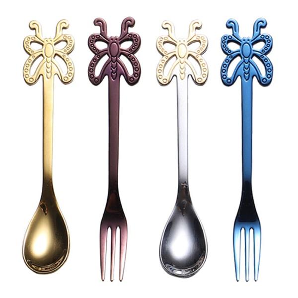 rostfritt stål kaffesked fjäril design frukt gaffel mjölk te