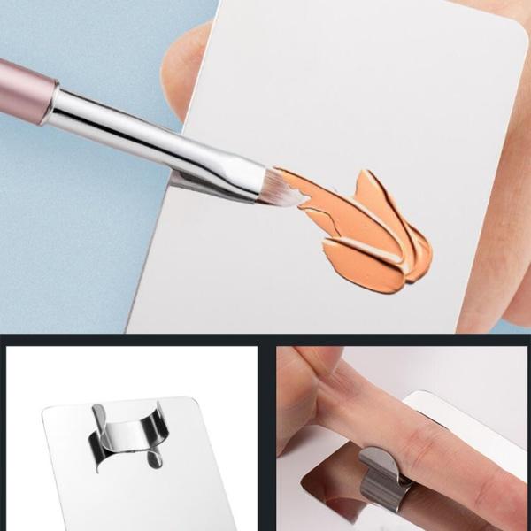 Rostfritt stål fingerring Makeup Mixing Palette Nail Art Mixi