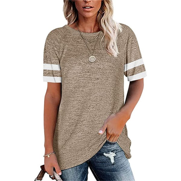 Striped round neck casual short sleeve t-shirt light gray XL