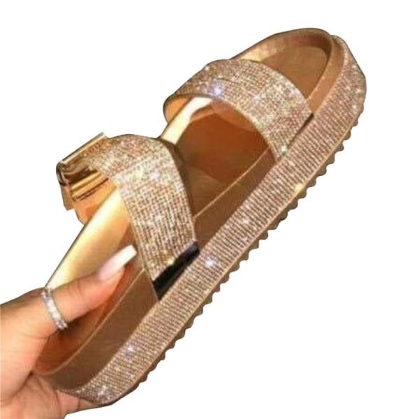 Summer Bling Dam Basic Diamonds Sandaler Crystal Shiny Slip-On