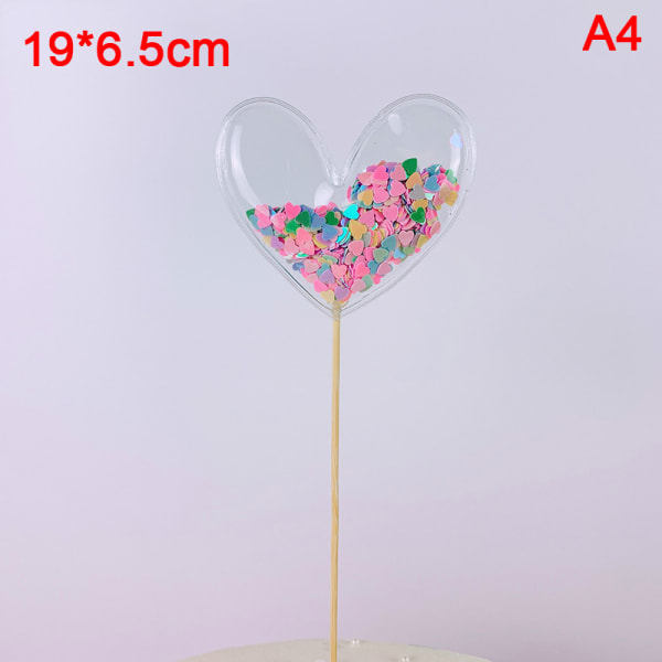 Transparent Sequin Cake Topper Baby Shower Födelsedag DIY Cake till
