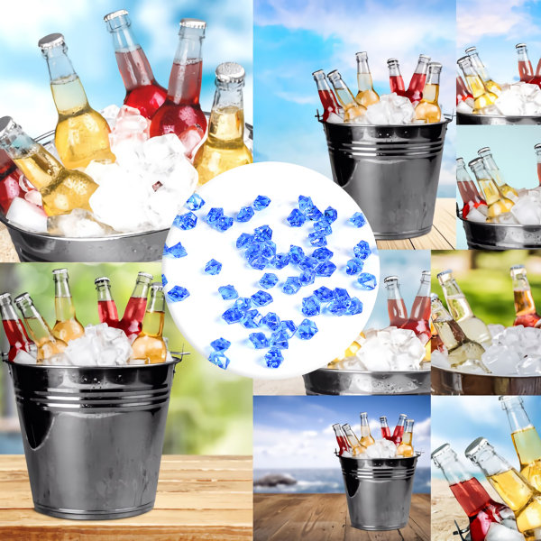 Vase Filler 500g False Gemstones Glass Pebbles Acrylic Ice Rock Sky blue