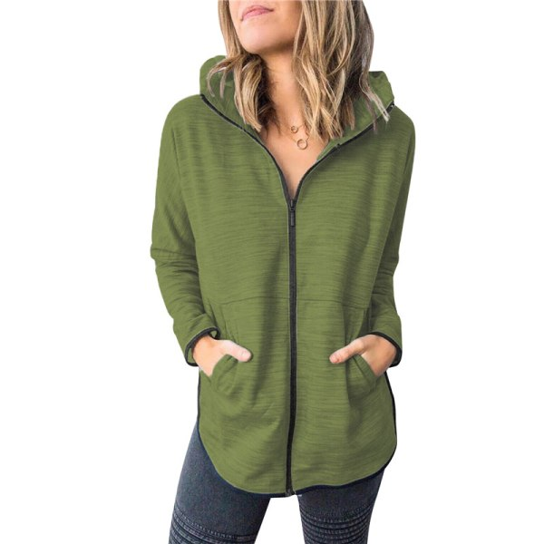 Women''s autumn and winter coat zipper Hoodie Sweatshirt blue 2XL