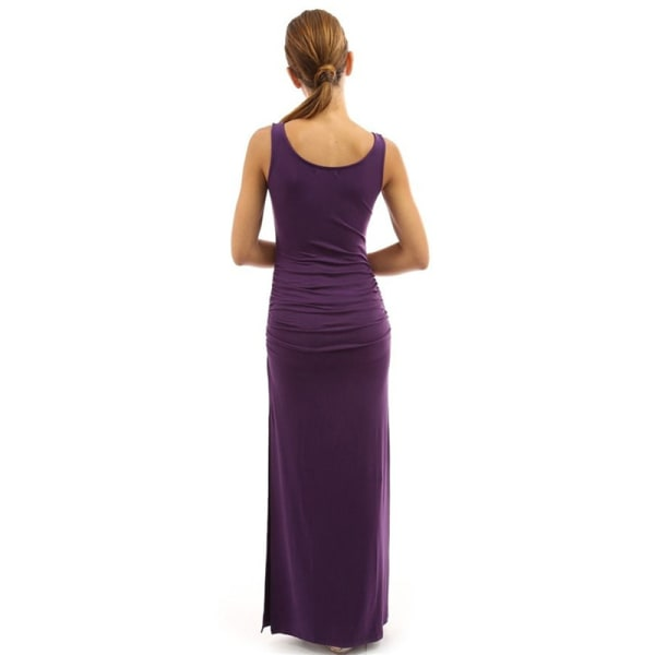 Women''s casual round neck sleeveless tight pleated high split  wine red XL