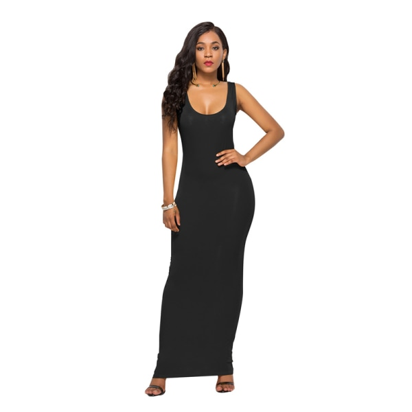 Kvinnors avslappnade sexiga bodycon ärmlös väst lång kjol enkel hej