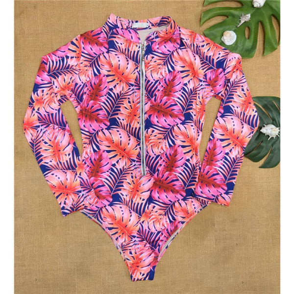 Women''s floral print swimsuit One Piece Bikini long sleeve swi pink S