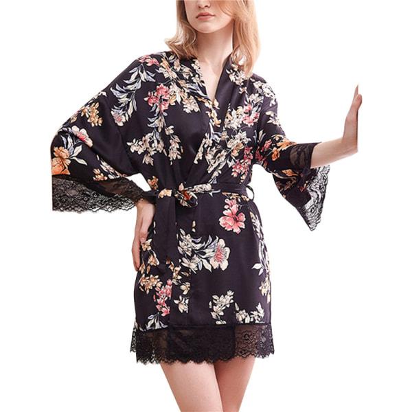 Dampyjamas badrock mantel tryckt morgonrock