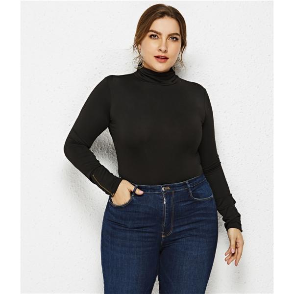 Kvinnors plusstorlek med hög krage, lång ärm, smal casua