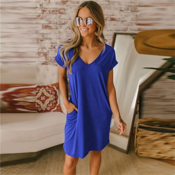 Damtröja V-ringad lös T-shirt kjol avslappnad klänning mediu