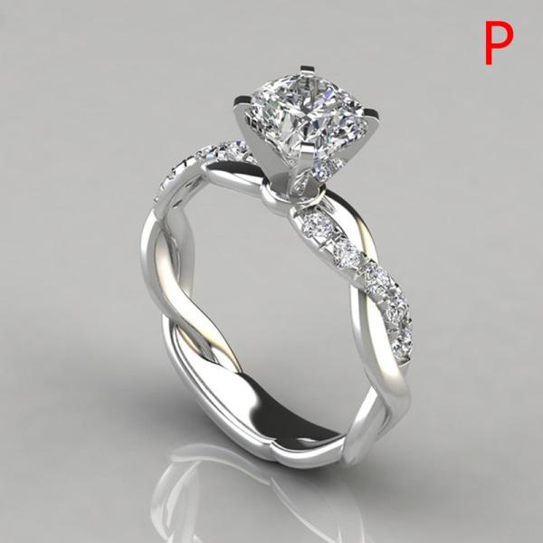 Kvinnors ring Cubic Solitaire platinerade förlovningsringar