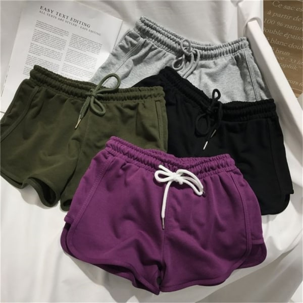 Women''s sports running loose casual shorts purple S