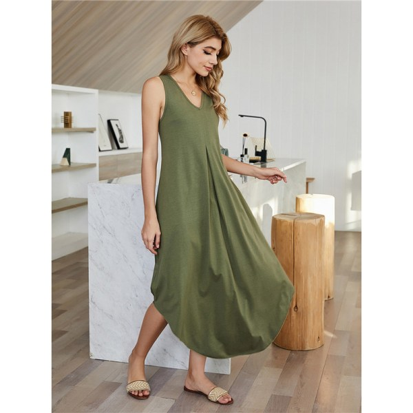 Women''s spring high waist irregular sleeveless dress Army green M
